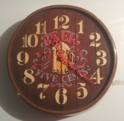 "Antiqued Barrel Top Look ""Beer 5 cents"" Bar Clock-Electric"