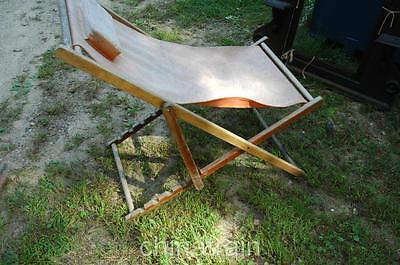 Vintage Mid-Century Canvas & Wood Folding Lounge Deck Lawn Beach Chair
