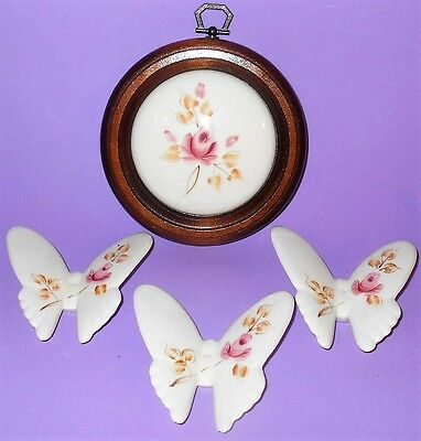 Vintage Homco Lasting Products Ceramic Rose Picture & 3 Ceramic Butterflies