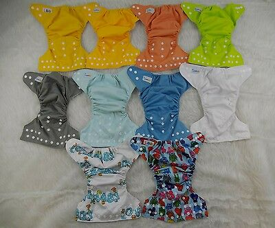 Cloth diaper shells covers lot of of 10 adjustable from size 1 to size 6