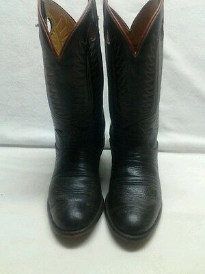 Vintage Mens Tony Lama Size 5.5E cowboy western deep red black leather boots USA