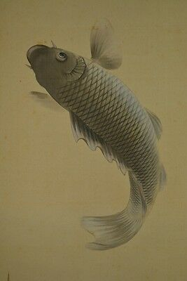 Carp Hanging Scroll Japanese Painting Jumping Picture Pic ink Antique Asian y54