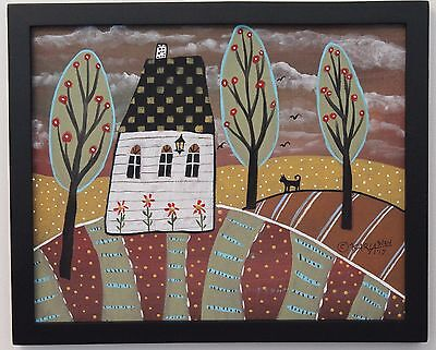 Watching Cat ORIG Framed Canvas Panel PAINTING FOLK ART 8 x 10 Karla Gerard