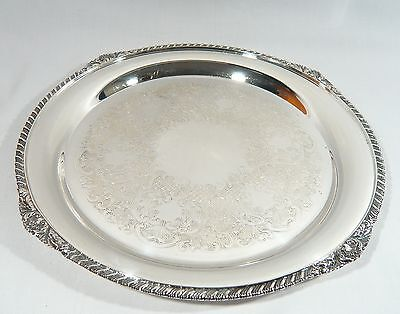 """Heavy Round Silver plate Drink Serving Tray 12 3/4"""" Old English Reproduction"""