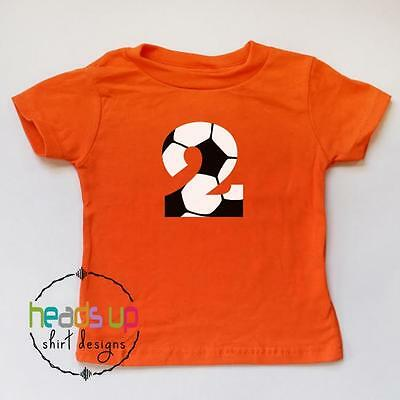 Soccer 2 Birthday Shirt Boy Girl Second Bday Toddler Sports Tshirt Kids 2nd Tee