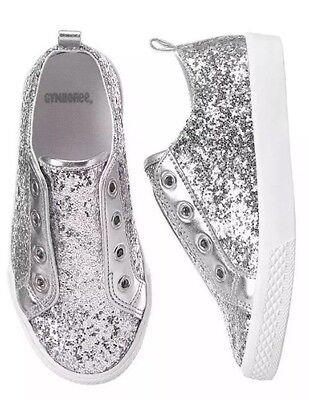 NEW!  Gymboree Silver Sparkle Glitter Slip On Shoes Sneakers Girls size 3