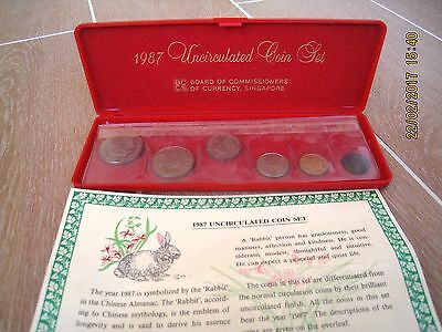 Collectable Singapore Coins 1987 Uncirculated Coin Set Celebrating Year of Rabbi