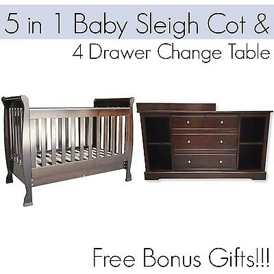 5 in 1 Dropside Baby Sleigh Cot and 4 DRAWER BROWN Change Table Package