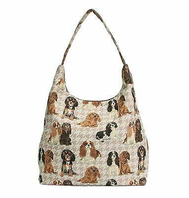 Signare Womens Tapestry Fashion Shoulder Bag/ Hobo Bag in Cavalier King Charles