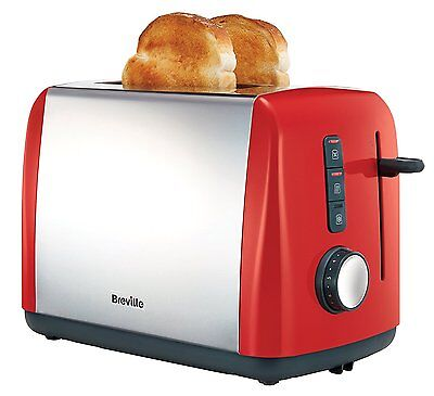 Breville VTT757 Colour Collection 2 Slice Toaster, Illuminated Controls Red