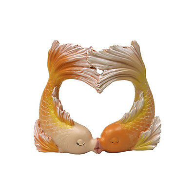 Kissing Goldfish Heart Aquarium Ornament Fish Tank Bubbler Decoration