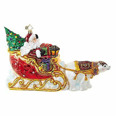 Christopher Radko Polar Bear Run Christmas Ornament - Santa Sleigh - 1018726