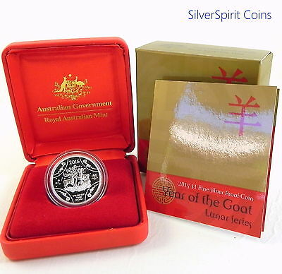 2015 $1 YEAR OF THE GOAT LUNAR Silver Proof Coin RAM Issue
