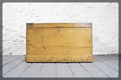 Lovely Antique Victorian Pine Blanket Box / Chest / Trunk - Coffee Table Size