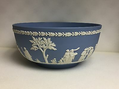 Vintage Wedgwood White on Blue Jasperware Serving Bowl.Made in England