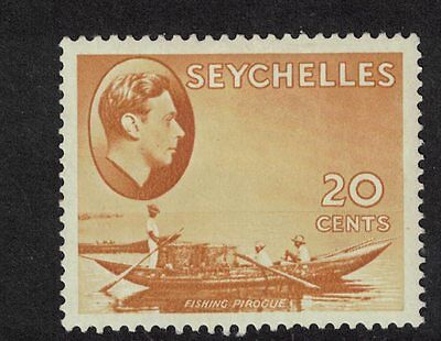 Seychelles 1941 GV1 20 cents Brown Ochre Mint (Chalky) S G 140a cat £26.0