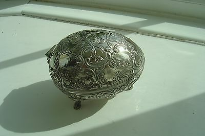 Jewellery Box/Trinket Box Vintage Silver Plated Red Vevet Lined