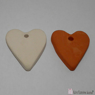 3 Bisque Ceramic Hearts 4.5cm Handmade Ceramic Ornaments. Heart Tiles from Clay