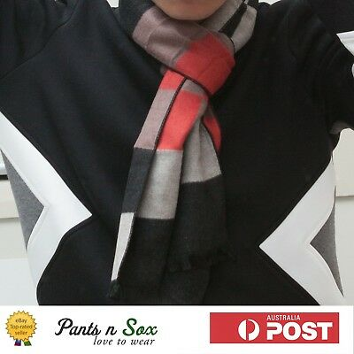 UNISEX SILK WOOLEN BLEND SCARF WINTER RED BLACK Mens Womens