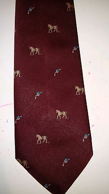 Men's Tie,  Horse and Riding Crop Prints Maroon Burgundy, Hardy Amies