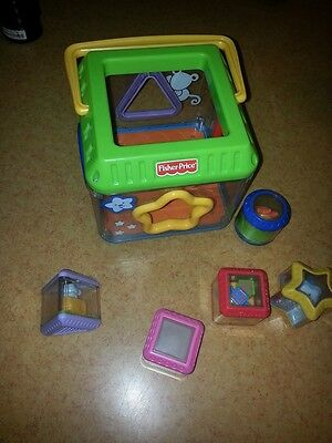 Fisher Price Peek A Block Musical Shape Sorter Cube W Blocks Circle Square +