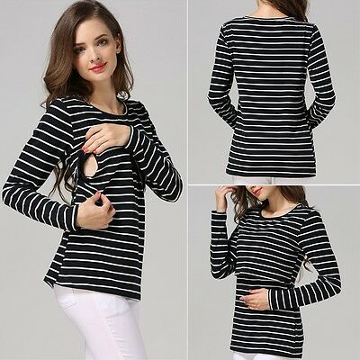 Maternity Breastfeeding Nursing Striped Long Sleeve Black & White Top Size L