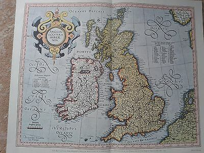 Antique Replica map of the British Isles 1595 ( bought in early 1960,s  NEW