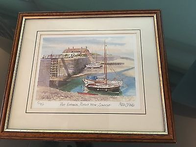 Signed professionally framed Alan Ward Watercolour original print Somerset