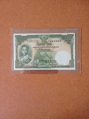 "1953 Thailand 20 Baht ""king In Field Marshal"" Banknote"