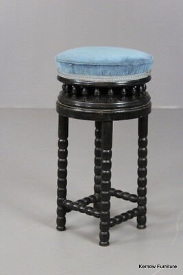 Antique Vintage Bobbin Turned Ebonised Music Piano Stool
