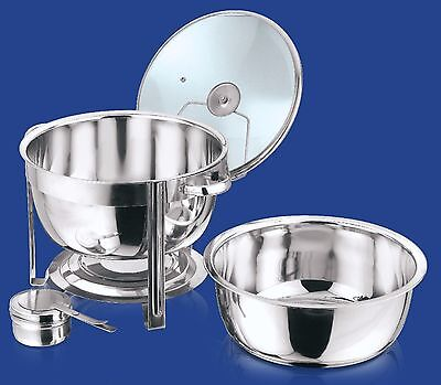 8.5 Litre Glass Lid Deep Stainless Steel Round Chafing Dish Food Warmer Catering
