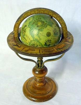 Vintage Old World Italy Pedestal Wood Globe Zodiac