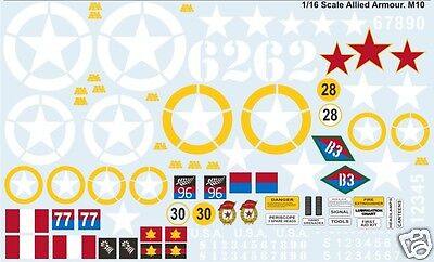 1/16 Sherman, M10 (and others)Tank Decals Allied Units Waterslide