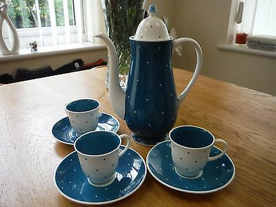 Susie Cooper Polka Dot Coffee Pot and 3 Cups and Saucers