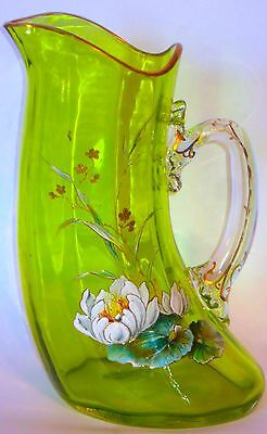 Big Harrach or Loetz Art Glass Tusk Pitcher Enamel&Gilt Decorated #2 Lime Green