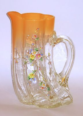 Large Harrach or Loetz Tusk Pitcher Enamel & Gilt Decorated #1 Opalescent Peach