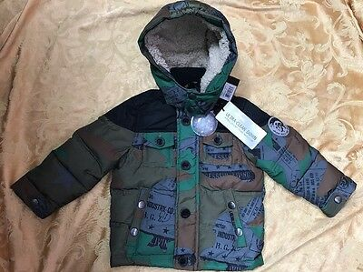 NWT Toddler Boy Diesel Winter Jacket Hood Bubble Green / Black  Size 2T