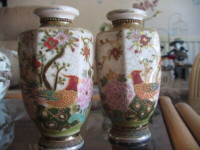 Pair of collectable Japanese handed vases with six sides in cloisonne fashion