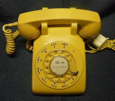 Vintage Yellow Western Electric Rotary Dial Phone, Working