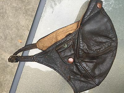Vintage WWI ? British Leather Pilots Helmet With Original Chin Strap