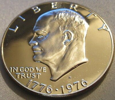 1976 S CAMEO PROOF EISENHOWER 40% SILVER DOLLAR//From Bicentennial Set // MC 210