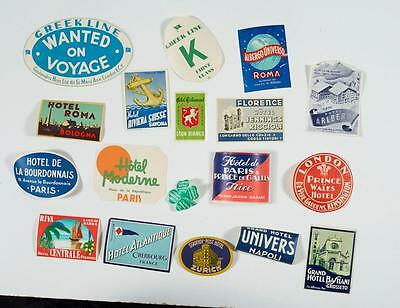 Vintage European Hotel Souvenir Luggage Label Tag Decal Advertising Lot Of 17