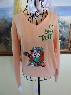 80's Vintage Peach Orange LaMode DuGolf Basset Hound Dog Golf Sweater Top M