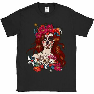 Day Of The Dead Mexican Sugar Skull Woman Halloween Mens T-Shirt