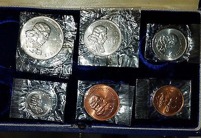 1965 South Africa partial Proof Set CELLOPHANE 50C 20 10 5 2 1 RED cent no rand