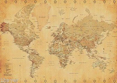 "World map Office Home Work Room Retro XXL Poster Gift Vintage Style 55""x39"""