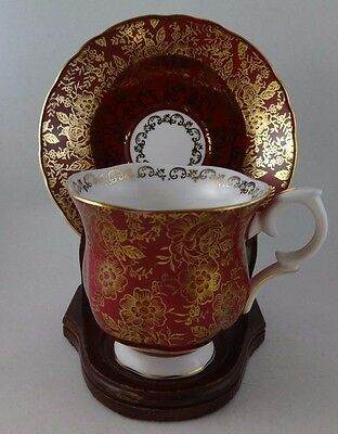 CROWN STAFFORDSHIRE TEA CUP & SAUCER  BURNT RED with GOLD CHINTZ