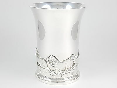 Scottish Sterling Silver Beaker Cantering Horses In Relief - 416.2 Grams