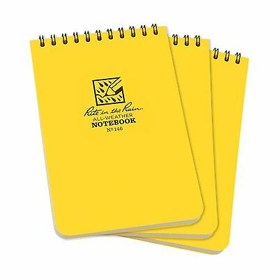 "Rite in the Rain All-Weather Top-Spiral Notebook 4"" x 6"" Yellow Cover Univers"