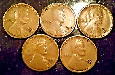 Lot Of  (5)  Lincoln Cents 1925-S